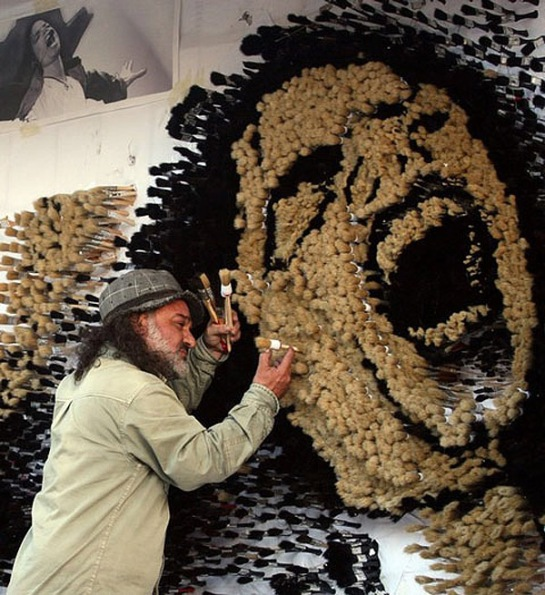 Albanian artist Strati creates a mosaic of the late pop legend Michael Jackson in Durres