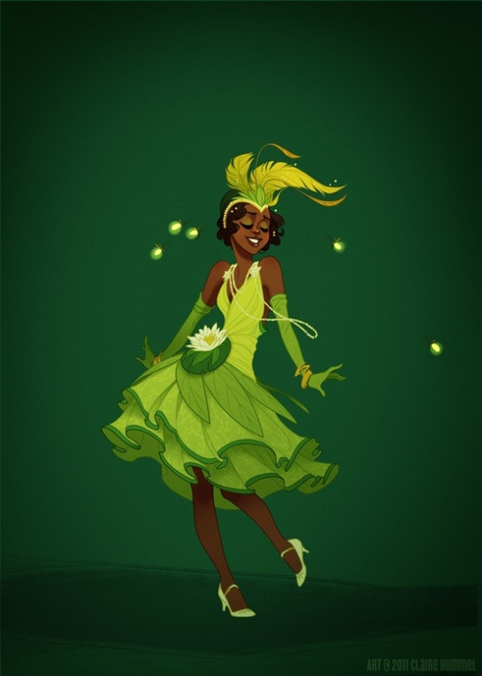 Princess Tiana living in New Orleans during the 1920s