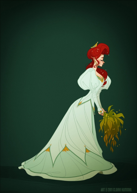 Ariel's dress is based on 1890′s evening gown fashion