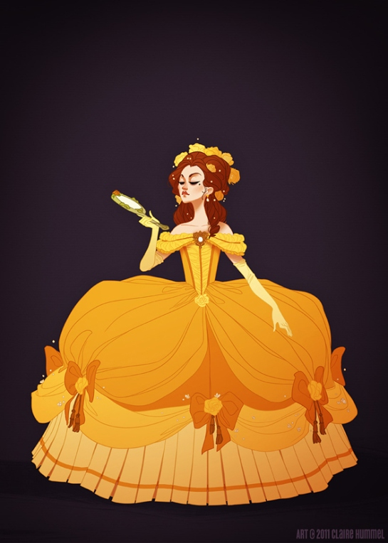 Belle's dress is based on 1770′s French court fashion