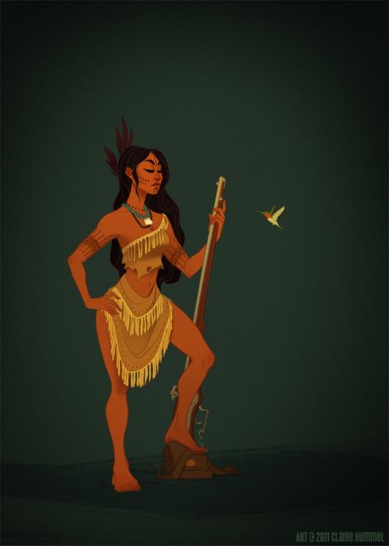 Pocahontas based on 17th century Powhatan costume (Virginia, USA)
